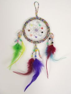 Dream Catcher~Unique Hippy Rainbow Beaded Dream Catcher with Multi Colour Feathers Single-Web Dream Catcher~Fair Trade by Folio Gothic Hippy DRC131